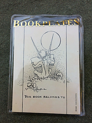 """Angel Reading In Field Bookplate Ex Libris """"This Book Belongs To"""" NWT 12ct B & W"""