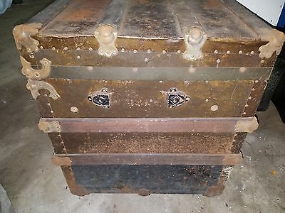 Antique Original Wood Flat Top Travel Steamer Trunk