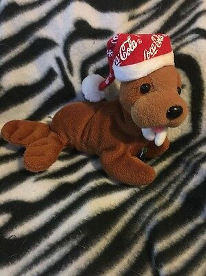 Coca-Cola Bean Type Plush Animal Walrus With Bottle And Stocking Cap