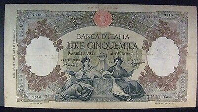 1956 Italy, Bank of, 5,000 Lire Bank Note Circulated    ** FREE U.S. SHIPPING **