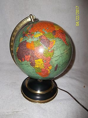 "Pre 1949 Replogle 8""  Glass Lighted Globe Metal Base  Working"