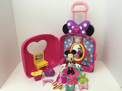Minnie Mouse Boutique Snap On Dress & Doll LOT W/ Musical suitcase Playset