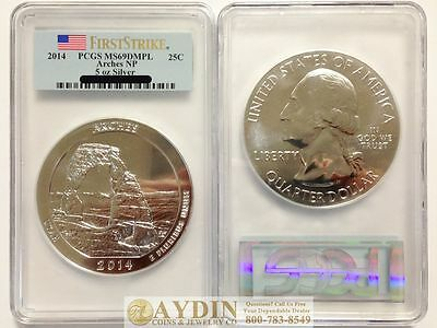 2014 5 oz Silver ATB Arches National Park Coin PCGS MS69 DMPL FS #399486