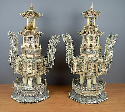 Superb Pair of Chinese Figures Statue From french castle - qing to republic