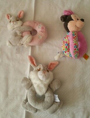 3 x disney thumper and minnie mouse rattles
