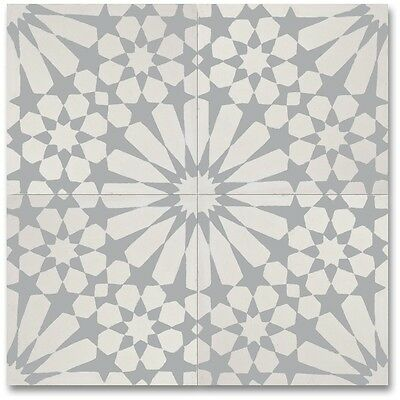 Agdal Grey And White Handmade Cement/ Granite 8 X 8-inch Floor And Wall Tile Of