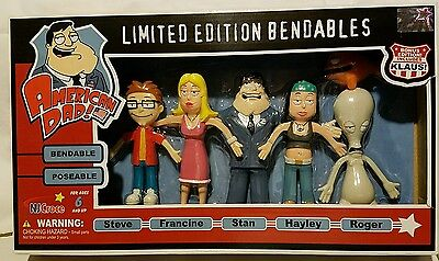 American Dad limited edition set of Bendable figures Stan Smith Roger rare #490