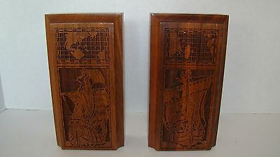 Estate Pair Of Lasercraft Laser Engraved Wood Sailing Ships Bookends