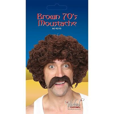 1970's Style Brown Tash Fake Moustache Tache for Fancy Dress
