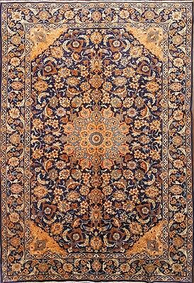 Breathtaking Classic Navy Blue Floral 8x12 Isfahan Persian Oriental Area Rug