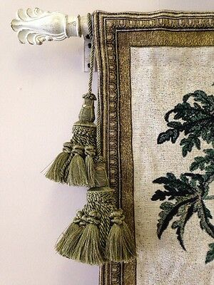 2 Set Old World Style Double Chair Vase Lamp Tapestry TASSEL rope Tie-back SAGE