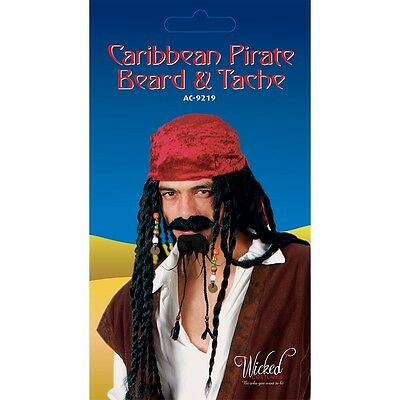 Caribbean Pirate Beard & Tash Fake Moustache Tache for Fancy Dress Jack Sparrow