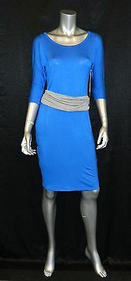 JULES & JIM MATERNITY NWT Blue Scoop Neck 3/4 Sleeve Belted Sheath Dress sz XS