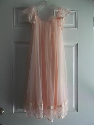Vtg Lisette PINK Nylon BABYDOLL Nightgown With LACE/RIBBON Trim Med-Large