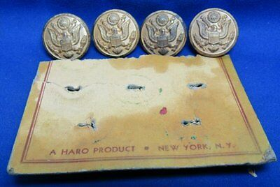 Indian Wars to WWI Army Buttons Lot Of 4 With Original Card by Haro RARE