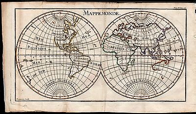 1739 Pluche Antique Handcol. Engraving: WORLD MAP, MAPPEMONDE, GEOGRAPHY, 18TH C