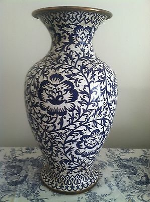 "Very Large Unique Blue And White Cloissone Vase 14""  $1 No Reserve"