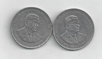 2 HIGHER DENOMINATION 5 RUPEE COINS from MAURITIUS (1992 & 2009)