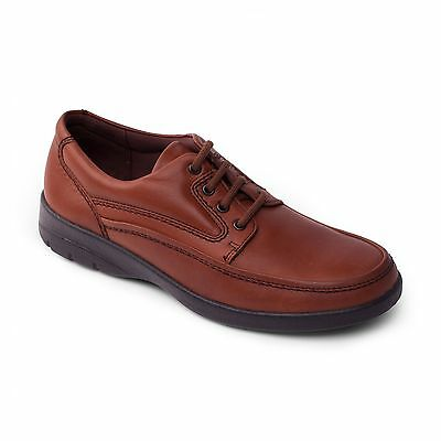 Padders FIRE Mens Leather Lace-Up Cushioned Comfort Smart Casual Shoes Tan Brown
