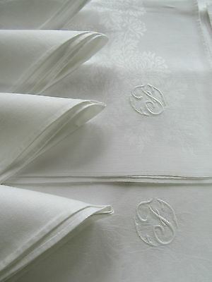 "Vintage Linen Damask Mums Tablecloth 71 X 86"" + 10 Napkins 21.75"", Monogram ""f"","