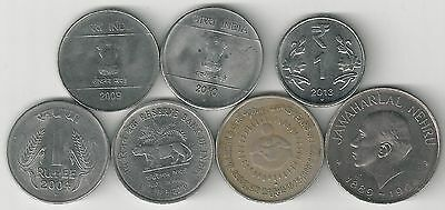 7 DIFFERENT 1 RUPEE COINS from INDIA (1964-2013/7 TYPES)
