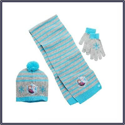 NWT Girl's Disney's Frozen Anna & Elsa Pom-Pom Hat Scarf & Gloves Set