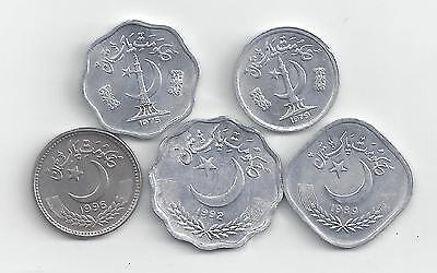 5 DIFFERENT COINS from PAKISTAN (5 DENOMINATIONS)