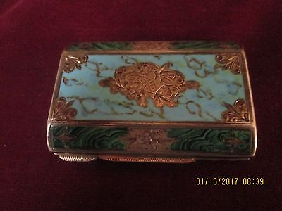 Antique Cloisonne Enamel Sterling Silver CIGARETTE CASE