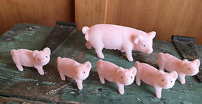 Set of 6 PIGS Flocked Blow Mold Figures Sow and Piglets