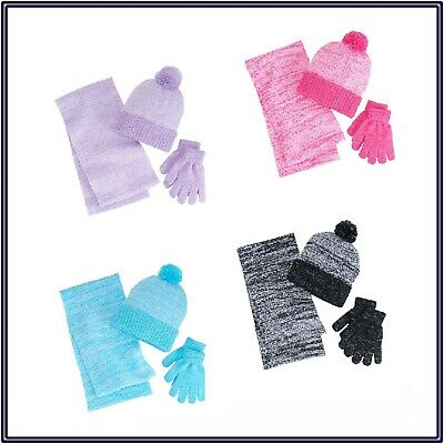 NWT Berkshire Girls' 3-Pc Marled Infinity Scarf Hat & Gloves Set #17415-200