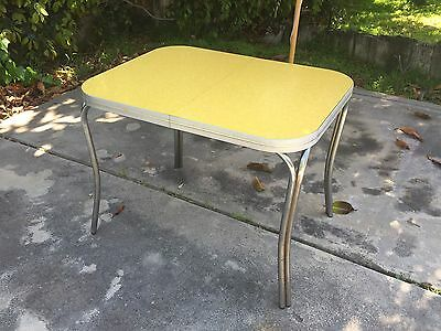 "Mid-century chrome Formica Kitchen Dining Table ""Cracked Ice"" Yellow"