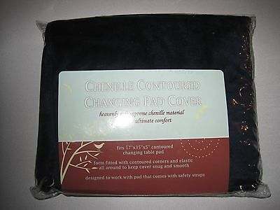 TL Care Heavenly Soft Chenille Fitted Contoured Changing Pad Cover, Navy
