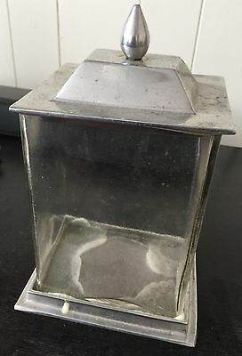 Vintage Older Pewter & Glass Container With Lid
