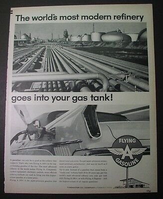 6 ads for Tidewater Oil Co., FLYING A gasoline, 1960s; J. Paul Getty supertanker