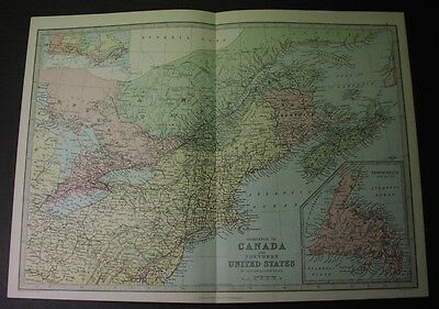 1880 map of CANADA: QUEBEC, ONTARIO - NEW BRUNSWICK, NEWFOUNDLAND, NOVA SCOTIA