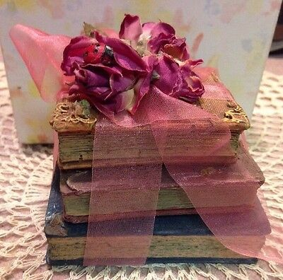 Victorian Style Molded Still Life Set Of 3 Books Dried Roses With Pink Ribbon