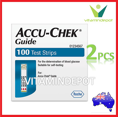 2x ACCU-CHEK GUIDE BLOOD GLUCOSE TEST STRIPS ACCUCHEK (200 Test Strips)