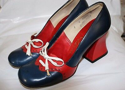 Vintage MOD Leather SHOES Red/White/blue Mary Janes Chunky Heels Lace Size 6m