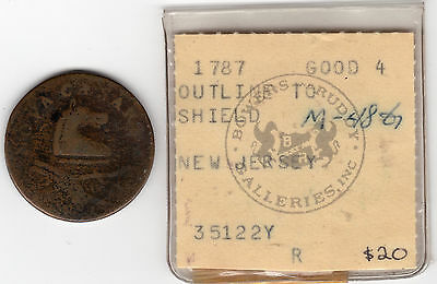 1787 New Jersey; nice colonial copper coin; Outline to shield. deer head
