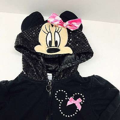 Toddler Girls MINNIE MOUSE ZIP UP FRONT HOODIE  SIZE 3T