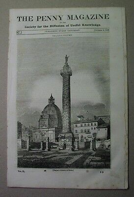 1833 illust. paper: the WILD TURKEY; Rochester Cathedral; Trajan's Column, Rome