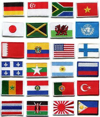 National flags emblems appliques iron-on patches choose from 24 countries FM-1