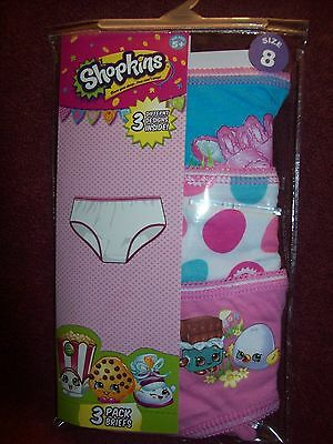Girls SHOPKINS Panties / Underwear - Size 8 - NEW NWT - 3 PAIRS - PINK 7 & WHITE