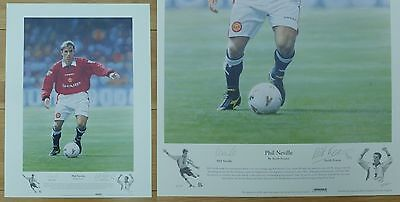 Phil Neville by Keith Fearon Signed Ltd Ed 156/495 Man Utd Artist Print (10453)