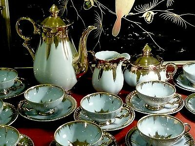 Fabulous Midcentury Fine Porcelain Coffee Set Gilded Japan C 1950's