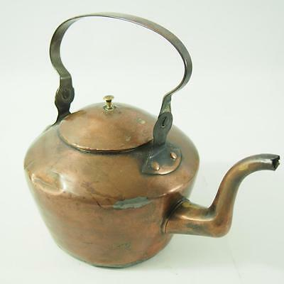 """8"""" Tall Copper Kettle With Lid Early Primitive Unmarked Antique Vintage"""