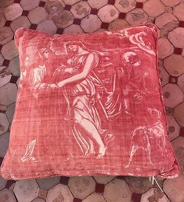 Antique C 1800s French toile De Jouy Cushion Cover With Pad Timeworn