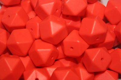 17mm Silicone loose Beads for making necklaces BPA Free Red 10 Hexagon chew