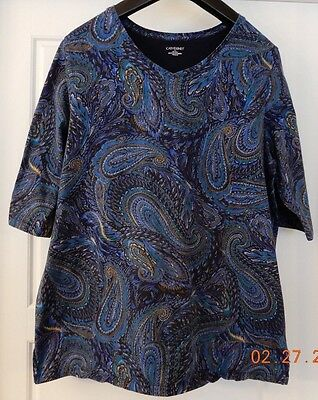 Womens Top Shirt 100% Cotton Blue w/Paisley Catherines Size 1X, 18/20W