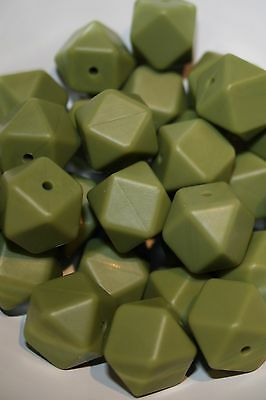 Silicone Beads 17mm loose BPA Free Army Green x10 Hexagon chew bite teeth large